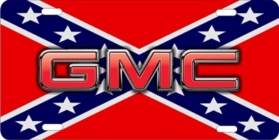 Personalized Novelty License Plate Gmc On Rebel Flag Custom License Plates Personalized License