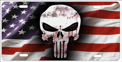 The Punisher On American Flag Personalized Novelty License Plate Custom Made Punisher Skull On