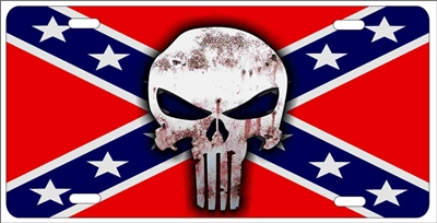 The Punisher On Rebel Flag Personalized Novelty License