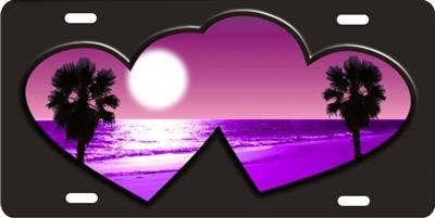 Purple Beach Scene Inside Double Hearts Personalized