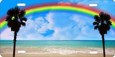 Rainbow Beach Scene Personalized Novelty Front License Plate Car Tag Custom License Plates